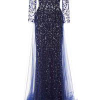 Embroidered Gown With Tulle Skirt Overlay by Marchesa for Preorder on Moda Operandi