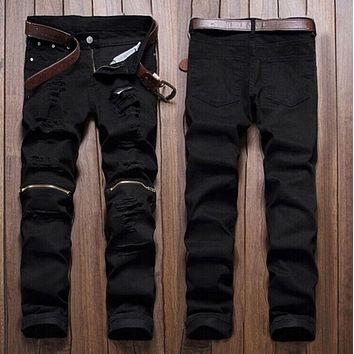 Men Stylish Ripped Jeans Zipper Hollow Out  Biker Classic Skinny Slim Straight Denim Trousers