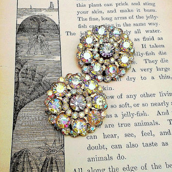"""WEDDING SEASON-Authentic Vintage Vivid Aurora Borealis Crystal Rhinestone Ear Plugs (up to 1""""g)  or Earrings SERIOUSLY Stunning and Sparkly"""