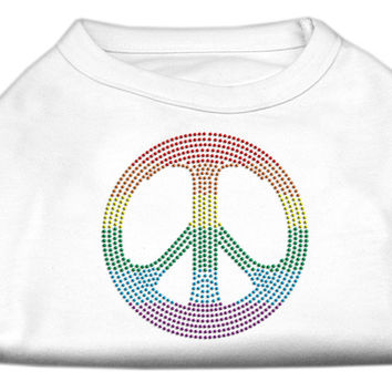 Rhinestone Rainbow Peace Sign Shirts White S (10)