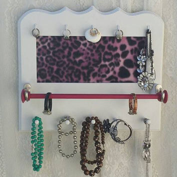 Jewelry Board, Pink Leopard Jewelry Bulletin Board, White-Glitter Jewelry Board, Leopard Theme Gift item, Gifts for her, Leopard Decor