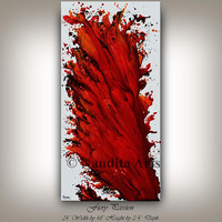 Oil Painting, Large Wall Art, Canvas Art, Gift For Women, Abstract Painting, Handmade Red painting Home Decor By Nandita Arts Collectibles.