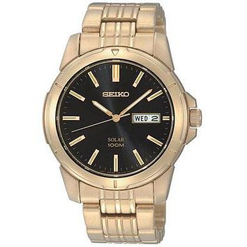 Seiko Solar Mens Gold-Tone Day/Date Watch - Black Dial - 100m
