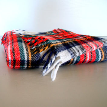 MIDCENTURY SLEIGH RIDE Blanket Warm and Cozy Wool Lap Throw: Plaid Tartan, Scottish, Burberry, Stewart, Red, Green, Yellow, Navy & Black