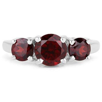 2.8TCW Natural Red Garnet Journey Ring
