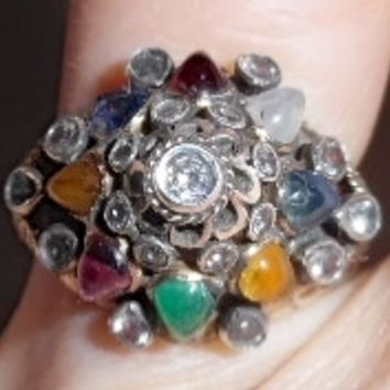 Vintage 14K multi Stone Thai Princess Ring