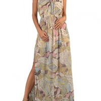 Beach Club Tropical Print Maxi Dress - Natural + Multi