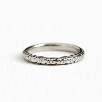Antique Art Deco 18k White Gold Orange Blossom Flower Ring - Size 6 Vintage Eternity Wedding Band Fine Milgrain Engraved Jewelry
