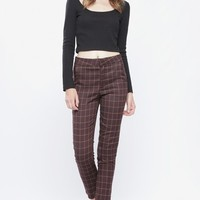 BURGUNDY PLAID TROUSERS