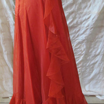 Lovely Vintage Workers Union Evening Gown, 1970's! Bust 32 Waist 24 inches/Small/Women's/Misses/Teens/Jr's/Formal Prom Dress/Bridesmaid