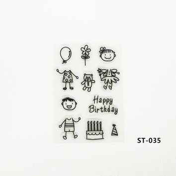 Scrapbook DIY Photo Cads Account Rubber Stamp Finishd Transparent Chapter Baby Boy And Baby Girl Elements 16*11