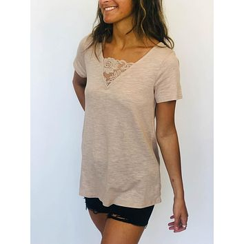 Lace Neck Top - Mocha