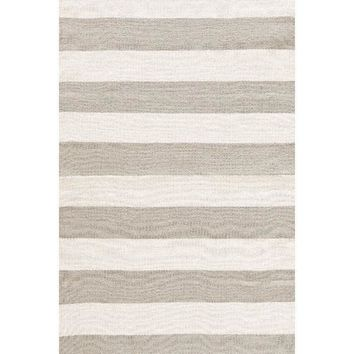 Catamaran Stripe  Indoor/Outdoor Rug | Platinum/Ivory