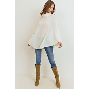 Cowl Neck Poncho Top - Ivory