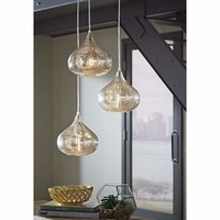 Designer's Choice Gold Mercury Tint Glass 3 Light Pendant