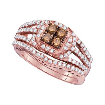 10kt Rose Gold Womens Round Cognac-brown Color Enhanced Diamond Bridal Wedding Engagement Ring Band Set 1 Cttw