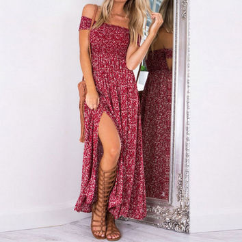 Sexy strapless beach summer dress sundresses Vintage tunika maxi dress Boho floral women split long dresses