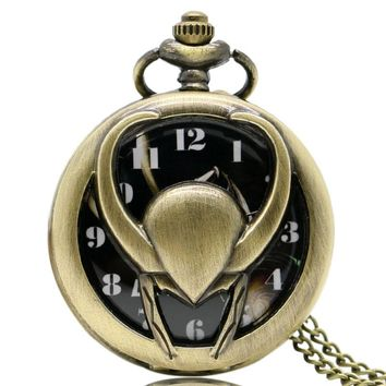 Cool Hollow Loki Helmet Design Quartz Fob Pocket Watches Necklace Pendant Chain for Men Women Best Gift
