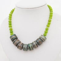 Striped Agate and Kyanite Necklace, Necklace in Green, Green Gemstone Necklace