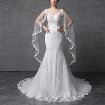 Illusion Corset See Through Back Mermaid Wedding Dresses With Lace Scarf Beaded