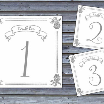 Table Number Cards Printable // Vintage Style // Instant Download PDF