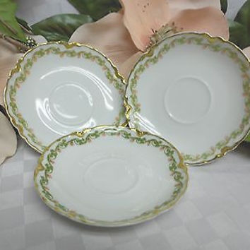 H&Co Haviland Limoges Schleiger white china Dinnerware Clover Leaf  3 Saucer