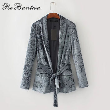 Rebantwa Velvet Blazer Female Ladies Blazers Designs Suit Jacket Women Autumn Coat Blazer Feminino Manga Longa blazer mujer 2017