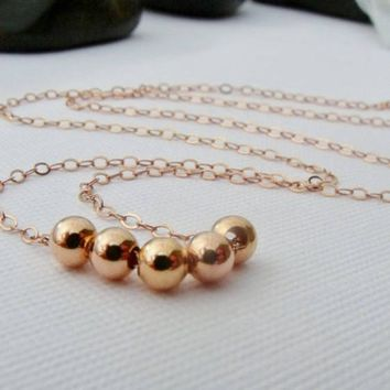 Rose Gold Beaded Necklace, Rose Gold Jewelry, Minimalist Necklaces, Simple Rose Gold Necklace, Small Rose Gold Beaded Jewelry