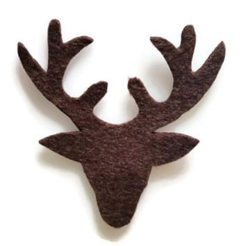 Stag Head Silhouette Iron On Patch - No Sew - Felt
