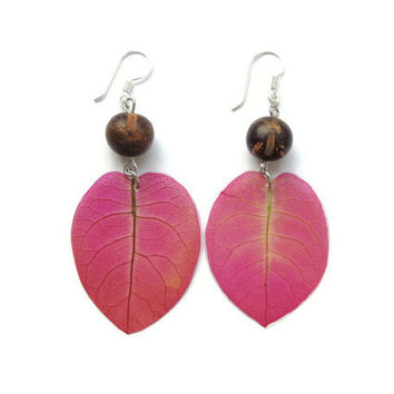 Bougainvillea jewelry, Pressed flower earrings, Purple dangle earrings, Violet, Dried Petals, Seed jewelry, Eco-friendly.