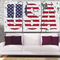 USA Flag Photo Canvas Print  - High Quality United States National Framed Wall Art -  Hand Made in Europe for Home and Office_LC051