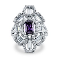 Sterling Silver Simulated Amethyst CZ Art Deco Ring 3.24 ct.tw1 Review(s) | Write A ReviewSKU# R930-01