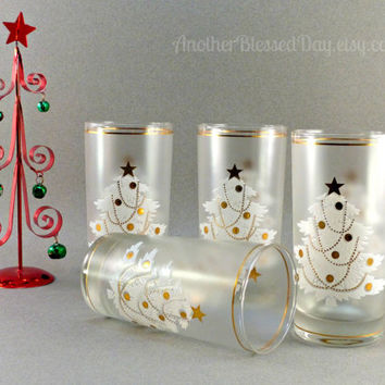 Vintage Elegant Culver Christmas Barware/Tumblers Frosted Glassware White and 22k Gold Accent Christmas Tree Decoration