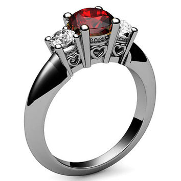 3 stone Ring Ruby Ring Color Engagement Ring Wedding Ring Promise Ring