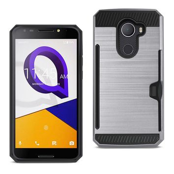 REIKO ALCATEL WALTERS SLIM ARMOR HYBRID CASE WITH CARD HOLDER IN GRAY