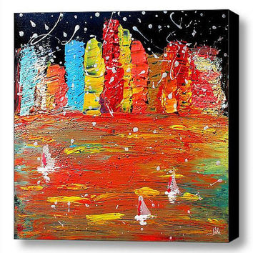 48inch Cityscape Painting, Skyline, Abstract Art, Large Original Painting, skyscrapers, modern wall office home decor, abstract water, red
