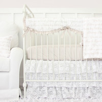 Love Letters Vintage Style Lace Baby Bedding | Words Crib Bedding