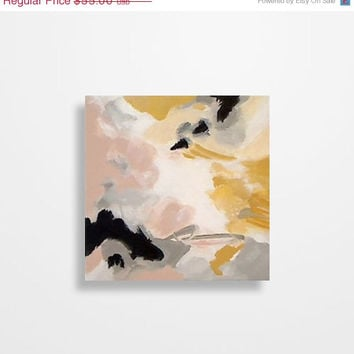 Valentines Day Sale Abstract painting Yellow Gray Pale Pink Black Original painting on 8 x 8 inch canvas by Magier