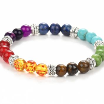 Colorful beads volcanic rocks turquoise frosted agate beads energy beads beads stretch bracelet