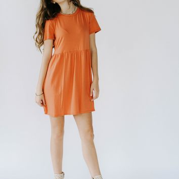 Griffin T-Shirt Dress (Burnt Orange)