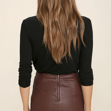 Love Games Burgundy Vegan Leather Mini Skirt