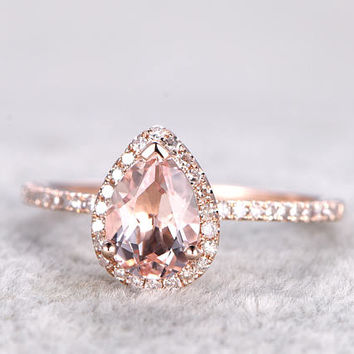 6x8mm Pear Cut Morganite Engagement ring Rose gold,Diamond wedding band,14k,Pear Shaped,Gemstone Promise Bridal Ring,Halo,V-tip,Pave Set