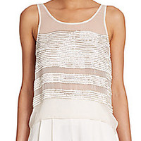 Parker - Naples Sequined Striped Top - Saks Fifth Avenue Mobile