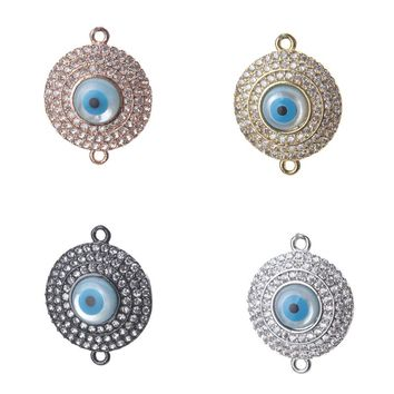 1pc 21*17mm Fashion Zircon Shell Evil Eye Charms Connectors Jewelry Accessories Rose Gold For Women Diy Evil Eye Bracelet Bangle