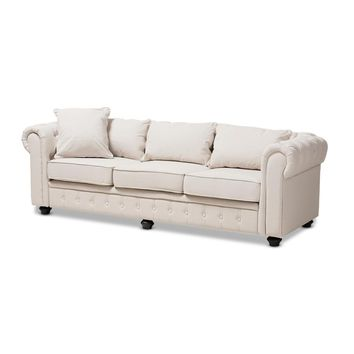 Chesterfield Tufted Linen Sofa