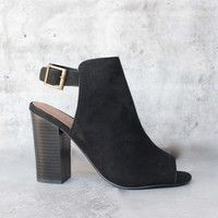 vegan suede sling back chunky peep toe heels - more colors