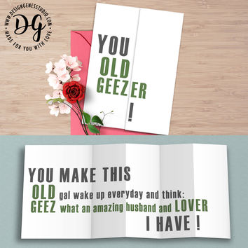 """Funny birthday card for him """"you old geezer"""" hidden message card"""