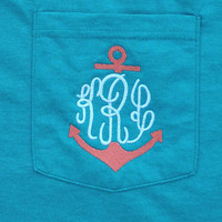 Comfort Colors Monogrammed Anchor Pocket T Short Sleeve