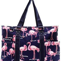 Utility Tote Multi-Pocket - Flamingo Print