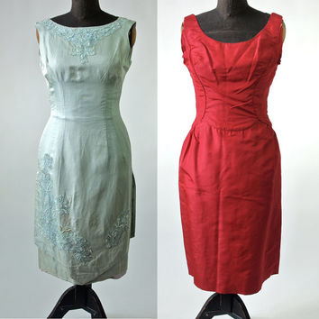 2 Vintage 50's Silk Red and Pale Mint Green Wiggle Dresses With Bustle Back and Beading Lot of Two-AS IS